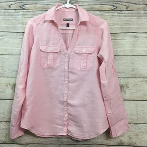 Button down shirt with roll tab long sleeves